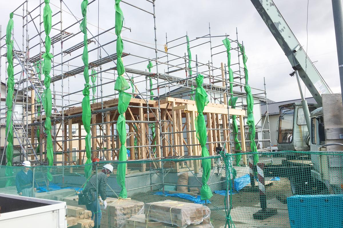 酒田市に完成する新しいママンの家の工事の様子