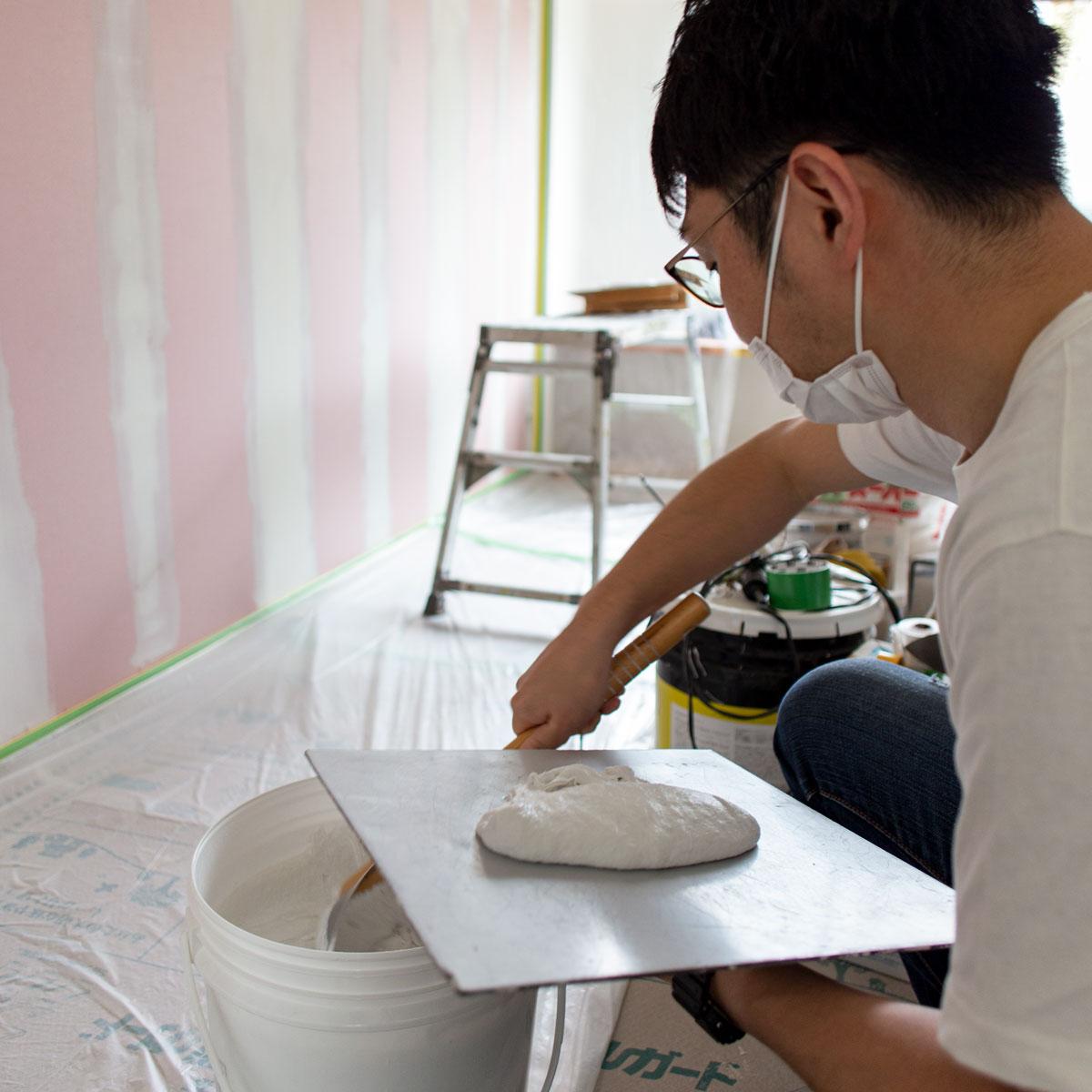 ふんわりとした塗り心地の良い塗り壁材