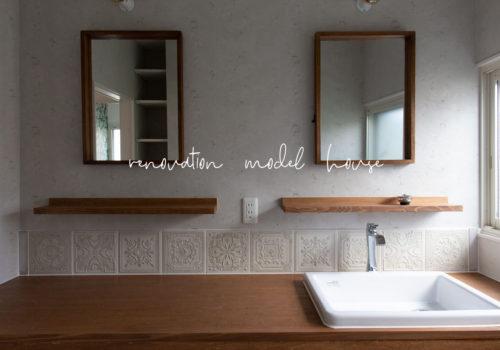 ヨーロッパテイスト溢れるかわいい洗面スペース